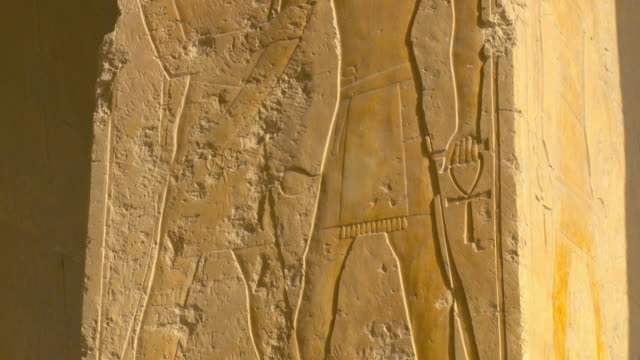 MS TU Ancient carvings at Temple of Queen Hatshepsut / Luxor, Egypt