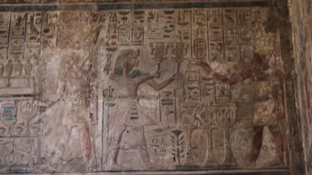 Ancient Egyptian hieroglyphics, tilt down