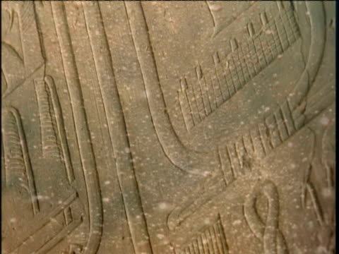 Ancient Egyptian Hieroglyphs superimposed with bubbling waters.