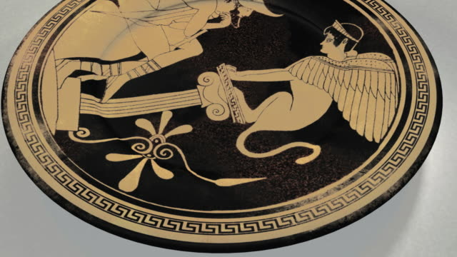 CGI Ancient Greek plate decorated with painting of Oedipus and Sphinx