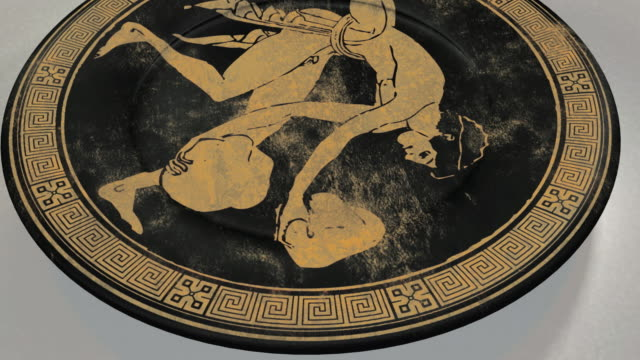 CGI Ancient Greek plate decorated with painting of Sisyphus carrying stones