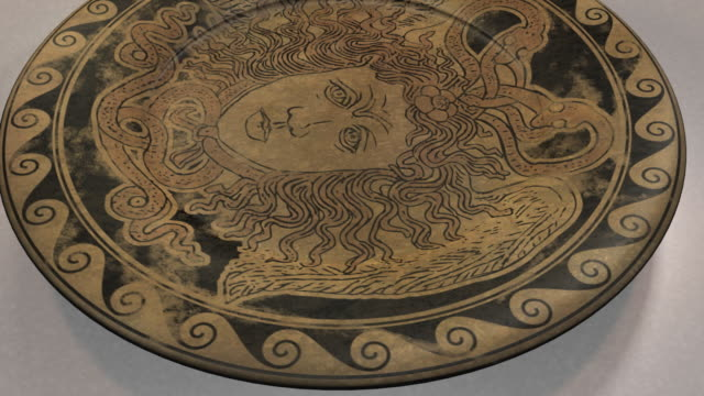 CU HA Ancient Greek Plate with decoration of the head of Medusa, Agia Paraskevi, Athens, Greece