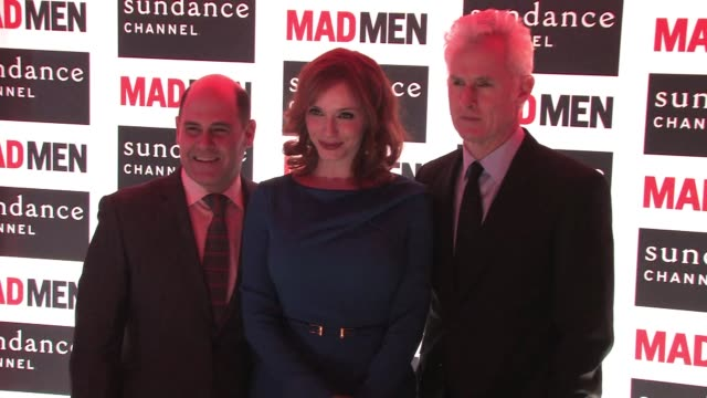 and Writer/Producer Matthew Weiner of 'Mad Men' attend the 'Mad Men' photocall at Forum Des Images Christina Hendricks John Slattery on February 09...
