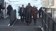 André Leon Talley leaving the Dennis Basso show at the MercedesBenz Fashion Week Fall 2014 at Lincoln Center Celebrity Sightings in New York on in...