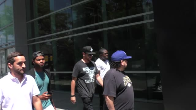 Andre Berto King Bach outside the BIG3 at Staples Center in Los Angeles in Celebrity Sightings in Los Angeles