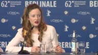 Andrea Riseborough on meeting James Marsh at Shadow Dancer Press Conference 62nd International Film Festival 2012 at the Grand Hyatt on February 12...