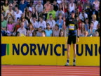 Andreas Thorkildsen wearing woolly hat launches winning throw of 8445m then applauds and waves to crowd Men's Javelin 2004 Crystal Palace Athletics...
