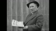 CU Andrew 'Bossy' Gillis wearing a hat and overcoat speaks / VS he holds a copy of his newspaper 'Asbestos' and speaks emphatically he was fined $200...
