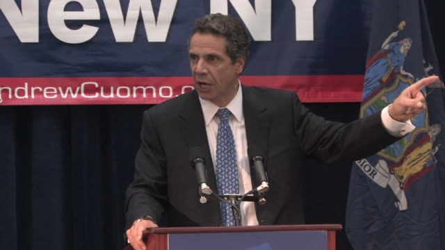 Andrew Cuomo speaks at a rally at LaGuardia Community College in Queens New York City the day before the gubernatorial election where he was elected...