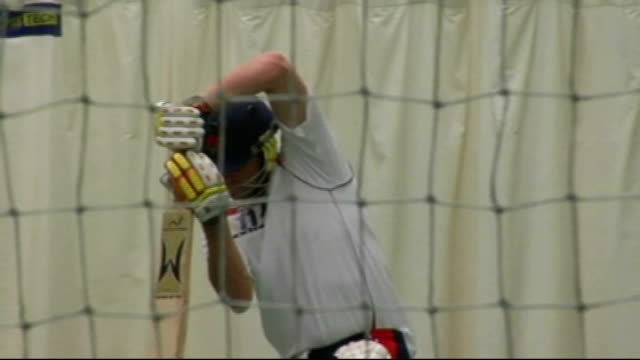 Manchester Lancashire Cricket Club INT Andrew Flintoff batting in nets during Lancashire CC training session/ Flintoff chatting with coaches and...