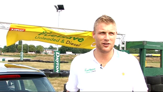 Andrew Flintoff promotes new Shell fuel at Sandown Park ENGLAND Surrey Sandown Park EXT Andrew Flintoff interview SOT Talks about the launch of...