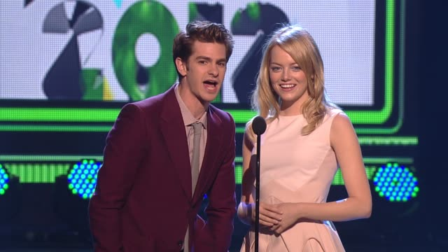 Andrew Garfield and Emma Stone present an award at Nickelodeon's 25th Annual Kids' Choice Awards on 3/31/12 in Los Angeles CA
