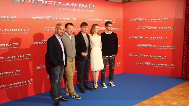 Andrew Garfield Emma Stone Dane Dehaan Marc Webb at 'The Amazing SpiderMan 2 Rise Of Electro' Rome Photocall on April 14 2014 in Rome Italy