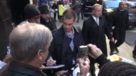 Andrew Garfield exits the Good Morning America show signs for poses with fans in Celebrity Sightings in New York