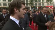 Andrew Garfield on his character the training working with Emma Stone at The Amazing SpiderMan UK Premiere at Odeon Leicester Square on June 18 2012...