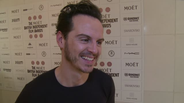 INTERVIEW Andrew Scott on Pride Sherlock and Bennedict at The British Independent Film Awards nominations announcement on 3rd November 2014 in London...