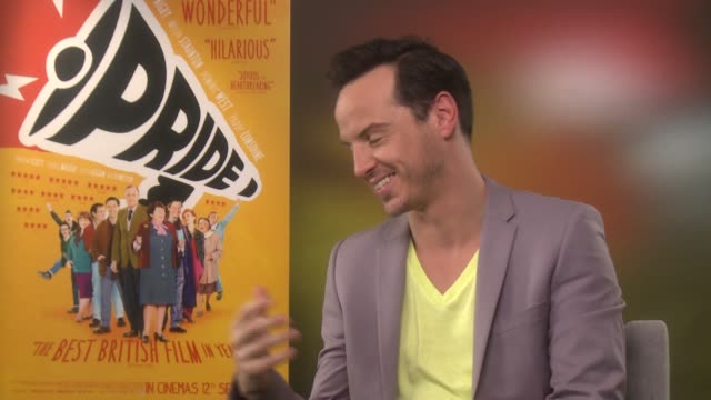 Andrew Scott talks about Dominic West dancing at the Pride Junket September 2nd 2014 Soho Hotel London