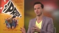 Andrew Scott talks about the true story and the mix of humour and politics at the Pride Junket September 2nd 2014 Soho Hotel London