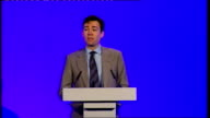 Andy Burnham speech to the NHS Chief Executives Conference ENGLAND London Queen Elizabeth II Conference Centre INT Andy Burnham MP along to podium...