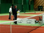 Andy Murray advises young players/ hit by ball ENGLAND London INT General views of children training on indoor tennis court