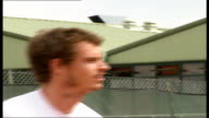 Andy Murray discusses injuries at launch of sports promotion programme London Raynes Park Close shot of Murray hitting ball Andy Murray interview SOT...