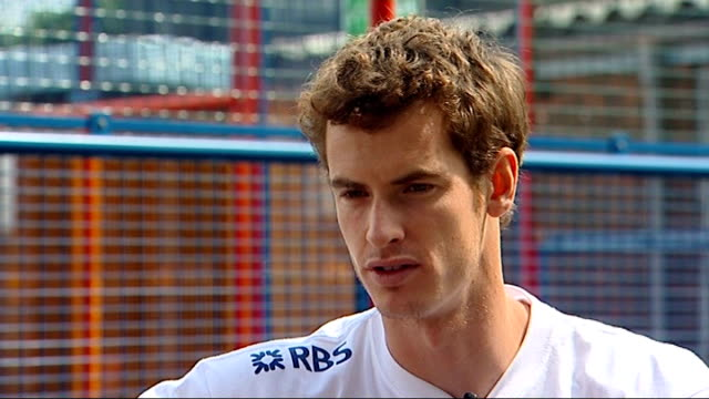 London Herne Hill Jessop Primary School EXT Andy Murray interview SOT Wants to do well/Will try and win Wimbledon/Feels like he can beat best players...