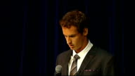 Andy Murray interview Murry presentation of Freedom of city and on stage as audience applauds SOT / Andy Murray speech SOT Feels good to be home /...