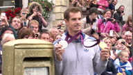 Andy Murray Poses by Gold Post Box on September 16 2012 in Dunblane Scotland