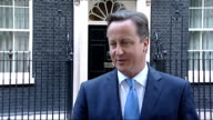David Cameron congratulations ENGLAND London Downing Street EXT David Cameron MP speaking to press SOT absolutely delighted for him/ Andy has done it...