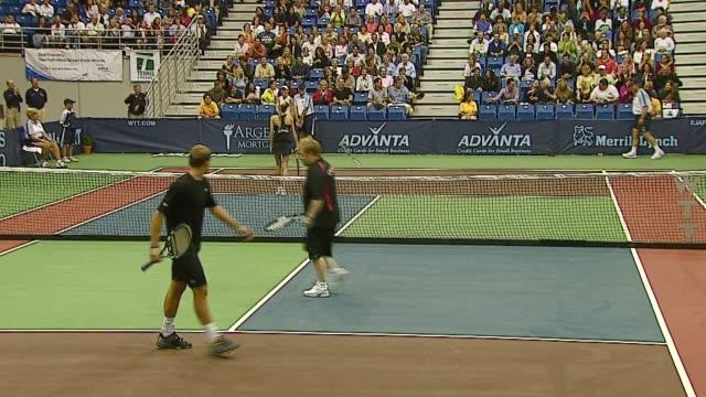 Andy Roddick Sir Elton John Anna Kournikova and Rennae Stubbs at the Advanta Presents WTT Smash Hits Celebrity Tennis Tournament at Bren Center...