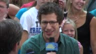 Andy Samberg being interviewed on the outside set of Good Morning America in New York 08/09/12