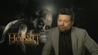 Andy Serkis on a blooper moment whilst shooting at the The Hobbit An Unexpected Journey interviews on the 7th of March 2013