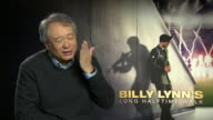 INTERVIEW Ang Lee on the challenges of filming in a high frame rate on at 'Billy Lynn's Long Halftime Walk' Interviews on January 19 2017 in London...