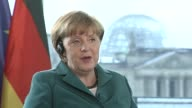 Angela Merkel Germany's chancellor speaks in German about what Germany can do to help boost the economic recovery in Europe during a Bloomberg...