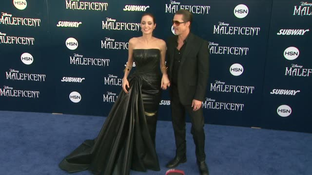 Angelina Jolie and Brad Pitt Disney's 'Maleficent' World Premiere at the El Capitan Theatre on May 28 2014 in Hollywood California