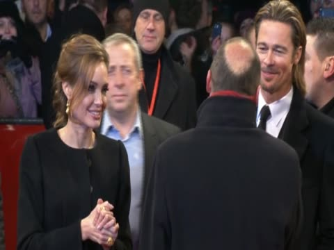 Angelina Jolie and husband Brad Pitt during the showing of 'In the Land of Blood and Honey' at Sarajevo's Zetra stadium