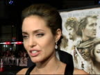 Angelina Jolie on her film makeup and acting in a period piece at the 'Alexander' Premiere Interviews at Grauman's Chinese Theatre in Hollywood...
