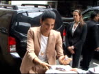 Angie Harmon is all smiles as she arrives at del Posto Restaurant in New York 05/18/11