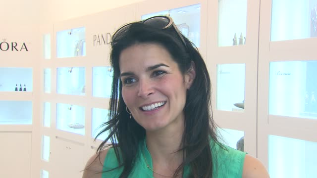 Angie Harmon on what she loves about Pandora on if she has a favorite item from their line at the Angie Harmon Hosts PANDORA Mother's Day Event at...