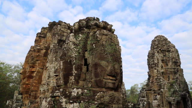 Angkor, Bayon Temple, the huge stone faces in the upper terrace