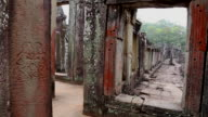 Angkor, view of a corridor in the Temple of Bayon