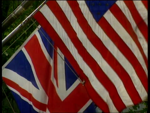 POLITICS AngloAmerican relationships ITN USA Washington US British flags flying together as bagpipes SOT in background NAT