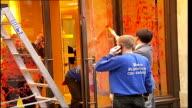 Animal rights activists target London designer store ENGLAND London Regent Street EXT Shopfront for designer clothes store Burberry with stepladder...