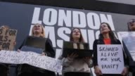 Animal rights protesters staged a demonstration outside London fashion week on it'e opening day They were campaigning against the use of fur and in...