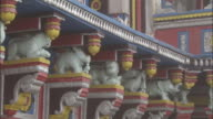 Animal statues on temple, Badrinath, India Available in HD.