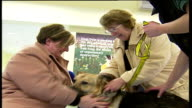 More dogs being abandoned by petowners Small shorthaired dog barking Joan Adams with relatives as stroke newly adopted German Shepherd dog Joan Adams...
