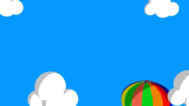 3 D animato aria palloncino volare attraverso le nuvole