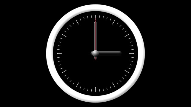 Animated Clock Countdown 12 Hours Over 60 Seconds