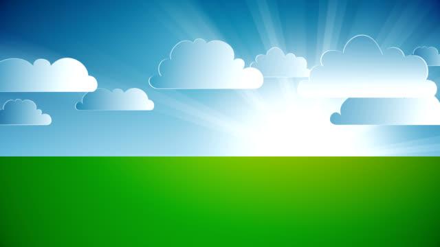 Animato paesaggio con nuvole.