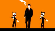 animated man walks with cats